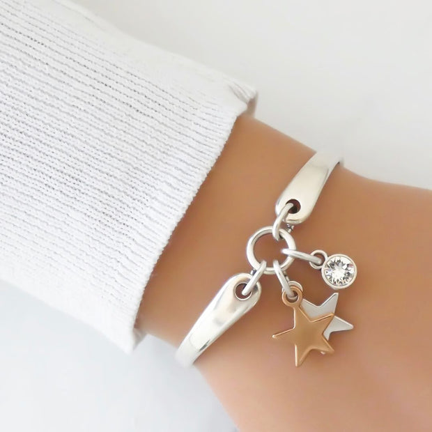 Twin stars and crystal brangle, silver and rose gold