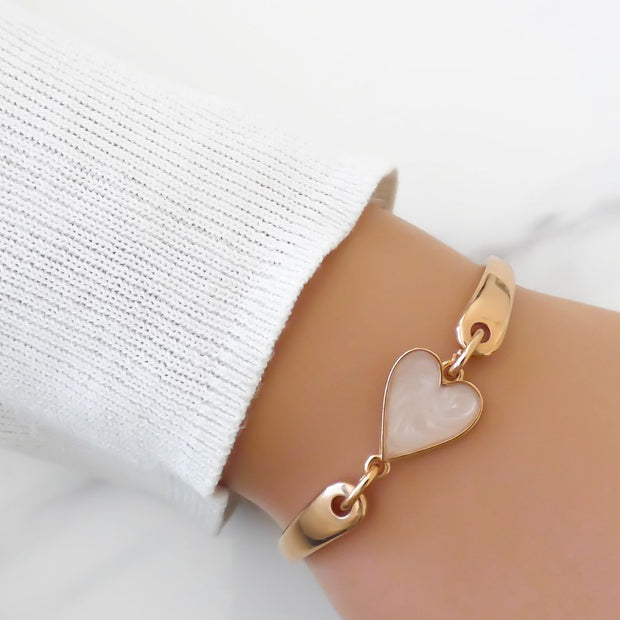 Marble heart brangle, rose gold