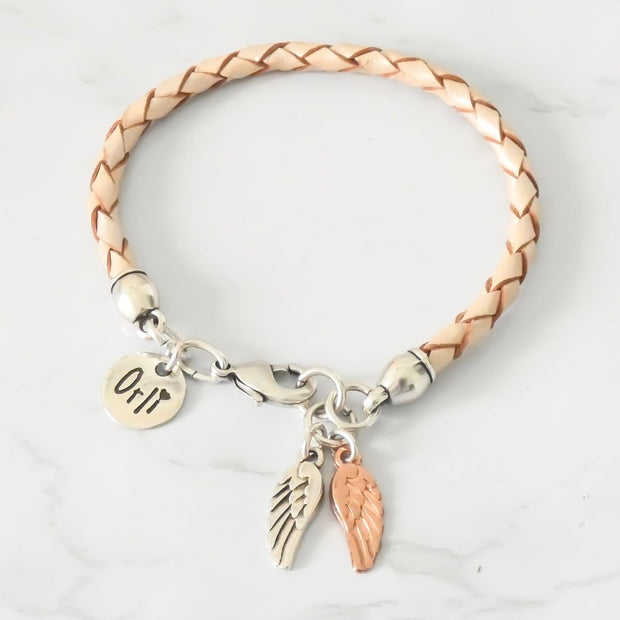 Twin angel wings leather friendship bracelet, pearlised nude