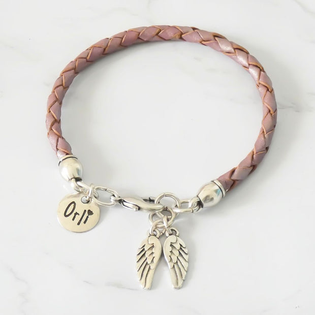 Twin angel wings leather friendship bracelet, silver and pearlised lilac