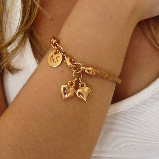 Twin hearts friendship bracelet, rose gold and tan - Orli Jewellery