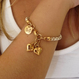 Twin hearts friendship bracelet, rose gold and white - Orli Jewellery