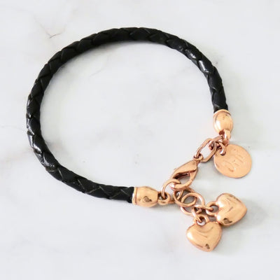 Twin hearts friendship bracelet, rose gold and black