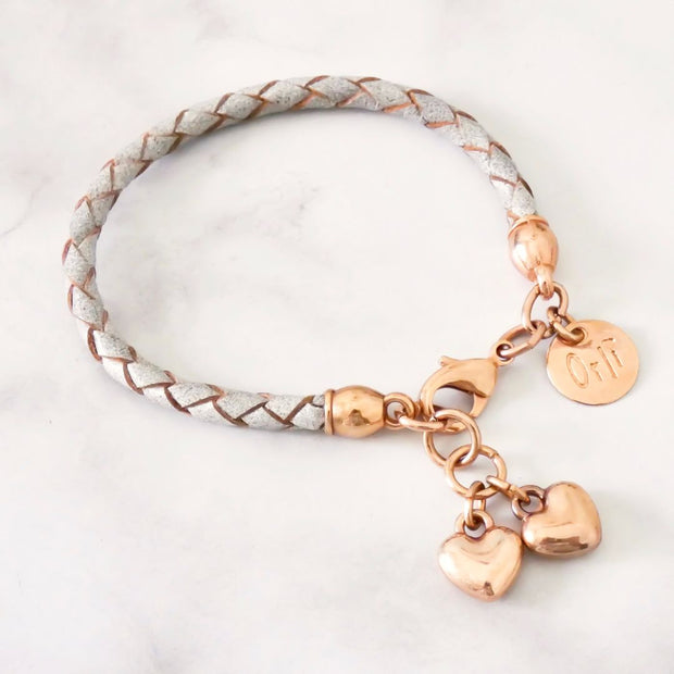 Twin hearts friendship bracelet, rose gold and grey