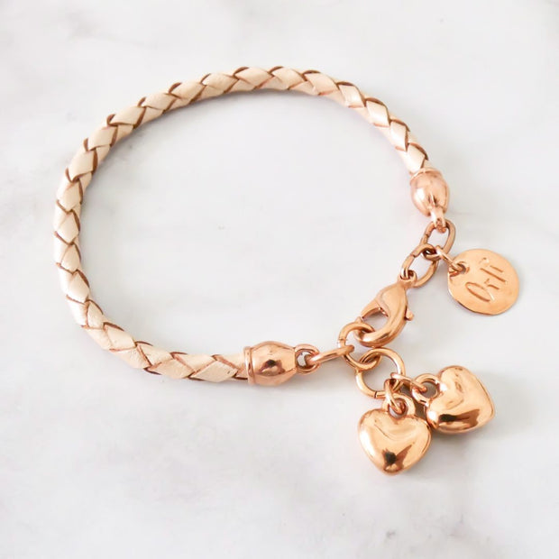 Twin hearts friendship bracelet, rose gold and pearlised nude