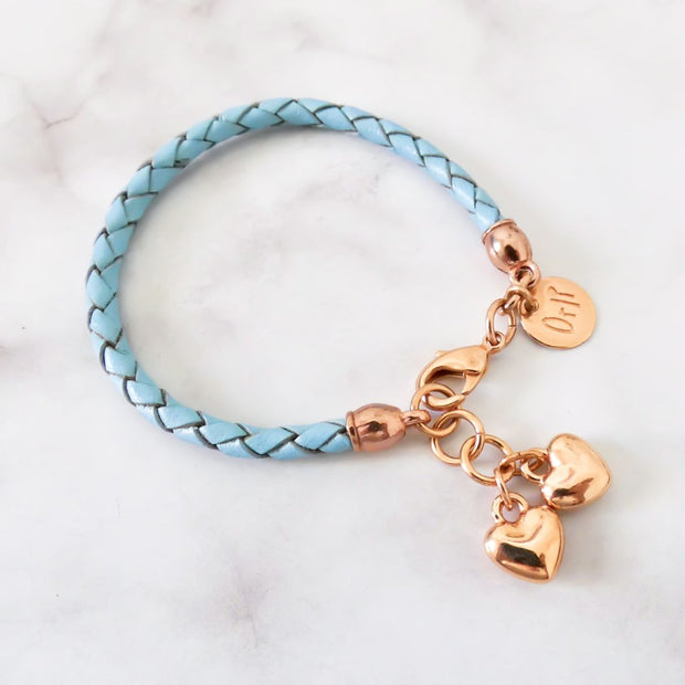 Twin hearts friendship bracelet, rose gold and pacific