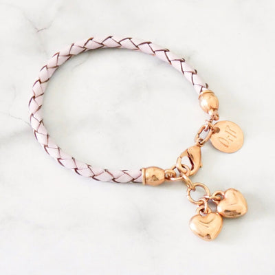 Twin hearts friendship bracelet, rose gold and pink