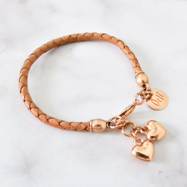 Twin hearts friendship bracelet, rose gold and tan