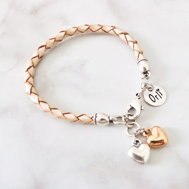 Twin hearts friendship bracelet, two tone and pearlised nude