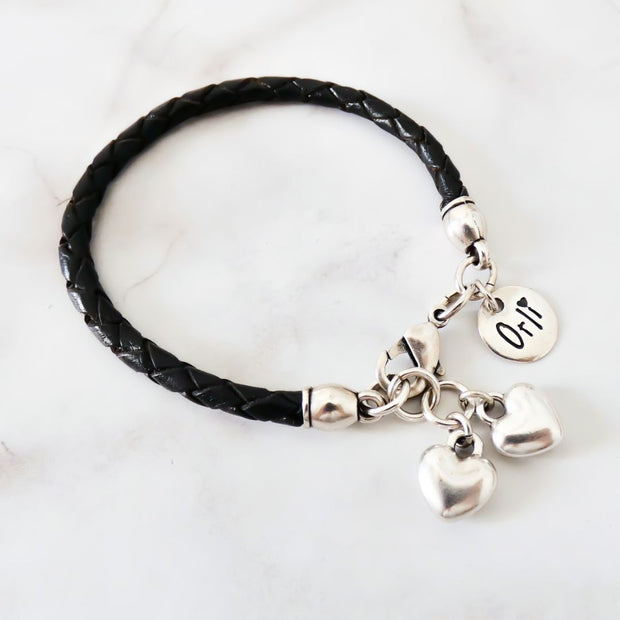 Twin hearts friendship bracelet, silver and black