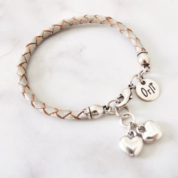 Twin hearts friendship bracelet, grey