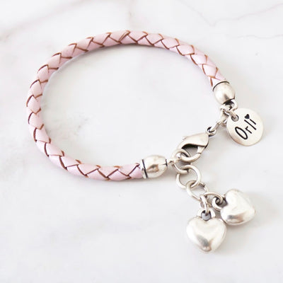 Twin hearts friendship bracelet, silver and pink