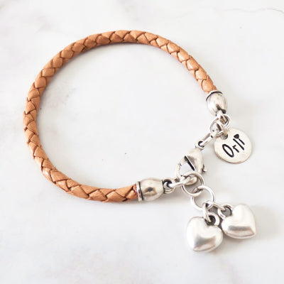 Twin hearts friendship bracelet, silver and tan