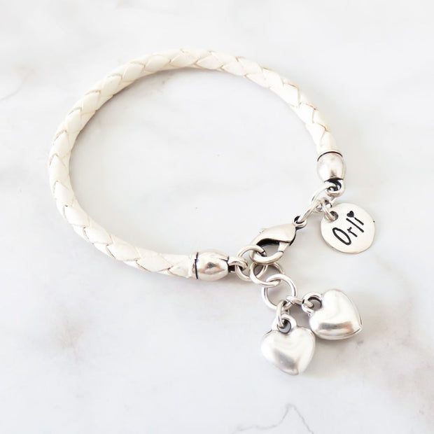 Twin hearts friendship bracelet, silver and white