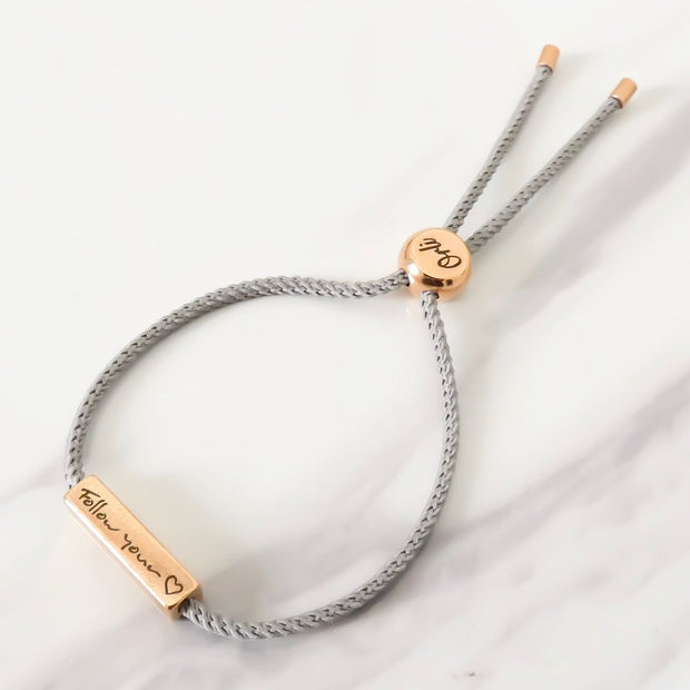 Sentiment Friendship Bracelet - Follow Your Heart - Grey