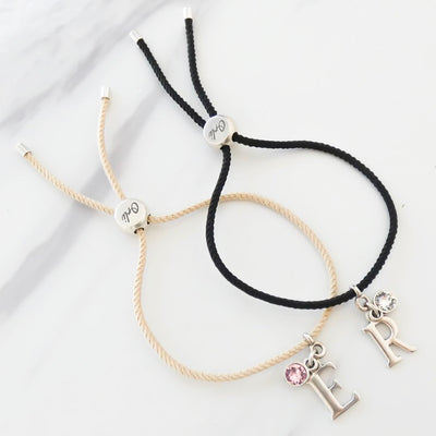 Initial and crystal Friendship bracelet, various colours