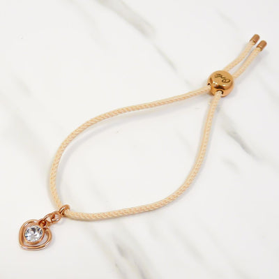Stencil heart and crystal Friendship bracelet, Nude and Rose gold