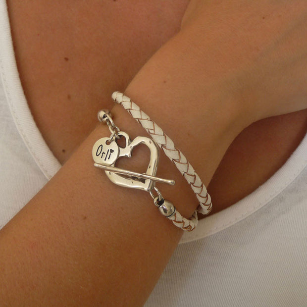 Silver pleated leather wrap bracelet, white - Orli Jewellery - 1