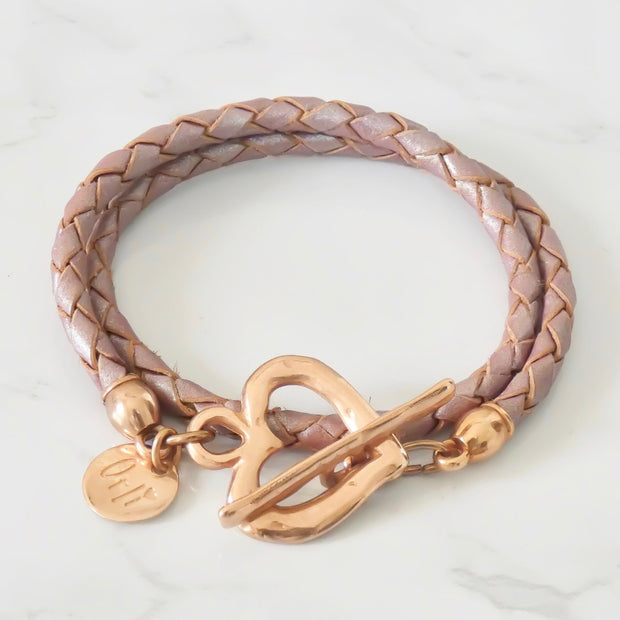 Rose gold pleated leather wrap bracelet, pearlised lilac