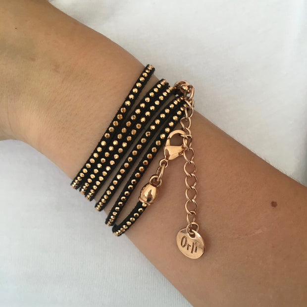 Studded suede wrap bracelet, black and rose gold - Orli Jewellery