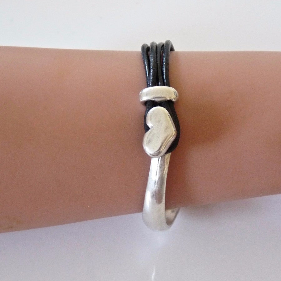 Leather heart bangle, silver and black