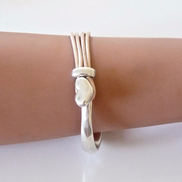 Leather heart bangle, silver and nude - Orli Jewellery