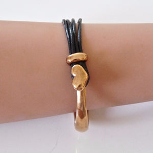 Leather heart bangle, rose gold and black