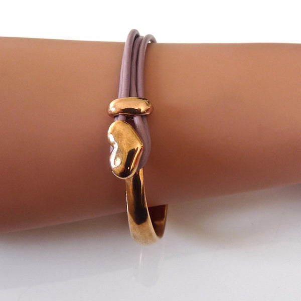 Leather heart bangle, rose gold and lilac