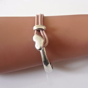 Leather heart bangle, silver and pink