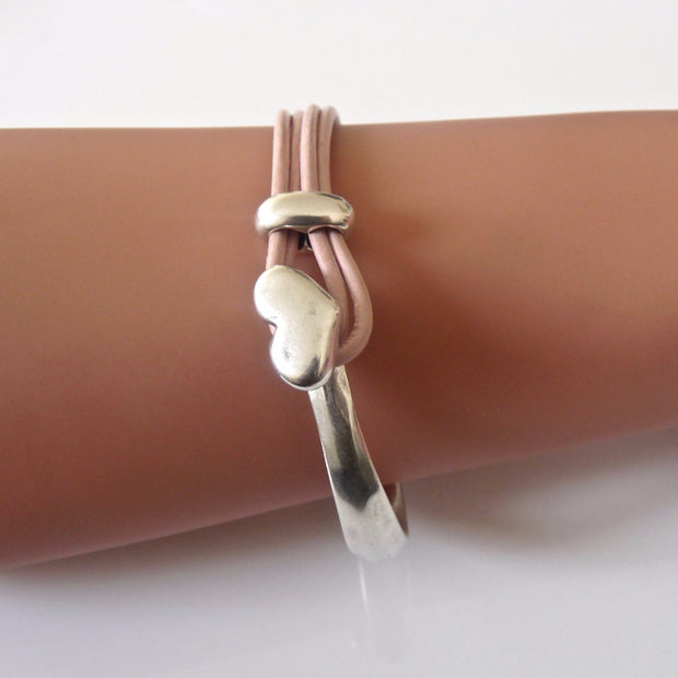 Leather heart bangle, silver and pink - Orli Jewellery