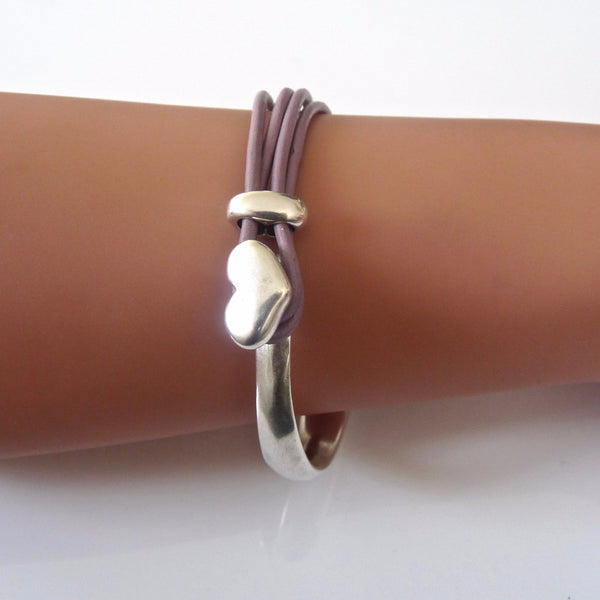 Leather heart bangle, silver and lilac