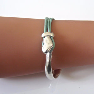 Leather heart bangle, silver and aqua