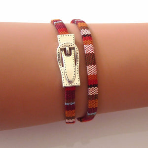 Slim buckle friendship wrap bracelet, various colours