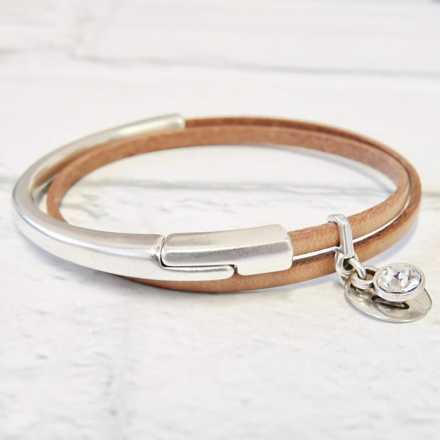 Slim leather wrap bangle, silver and nude