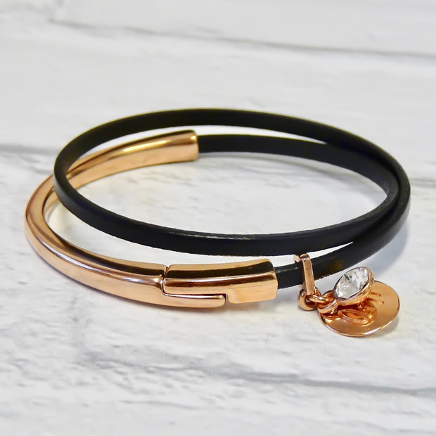 Slim leather wrap bangle, rose gold and black