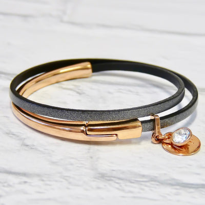 Slim leather wrap bangle, rose gold and grey