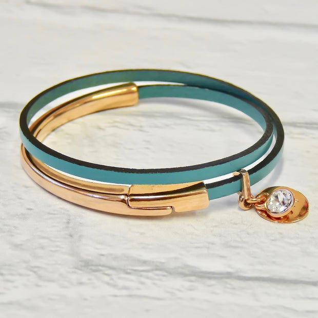 Slim leather wrap bangle, rose gold and mint