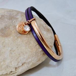 Slim leather wrap bangle, rose gold and purple