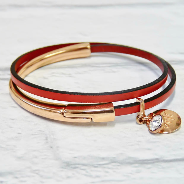 Slim leather wrap bangle, rose gold and red