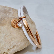 Slim leather wrap bangle, rose gold and white