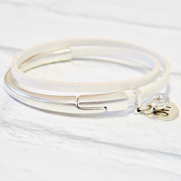Slim leather wrap bangle, silver and white
