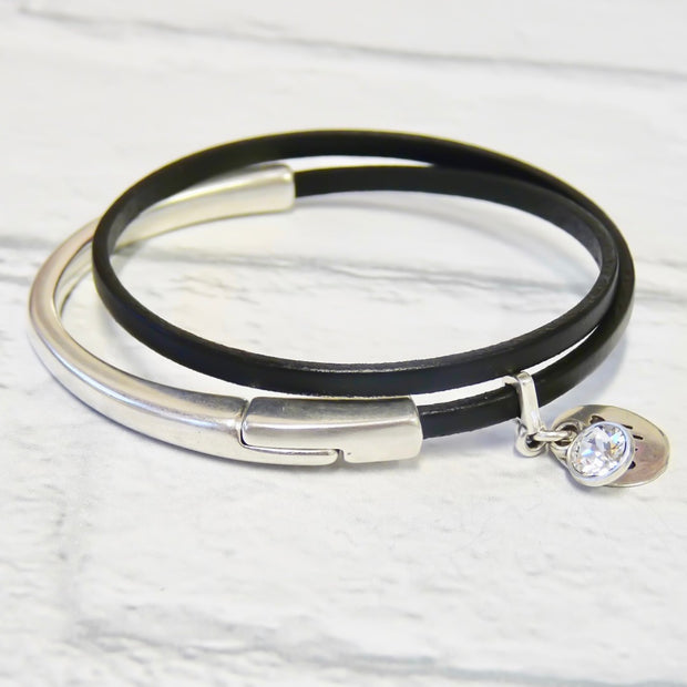 Slim leather wrap bangle, silver and black