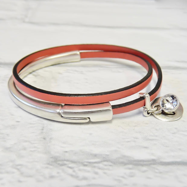 Slim leather wrap bangle, silver and coral