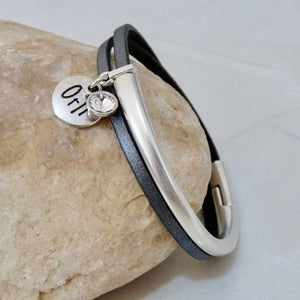 Slim leather wrap bangle, silver and grey