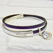 Slim leather wrap bangle, silver and purple