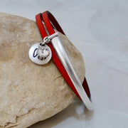 Slim leather wrap bangle, silver and red