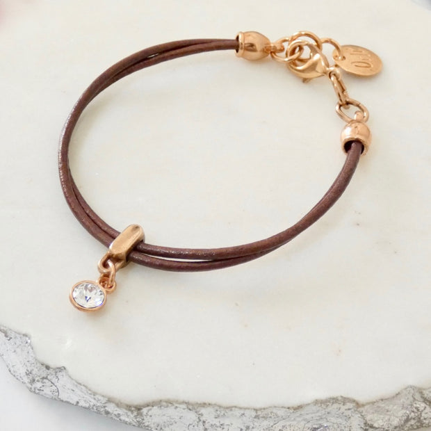 Leather bracelet with Swarovski crystal, rose gold and bronze - Orli Jewellery