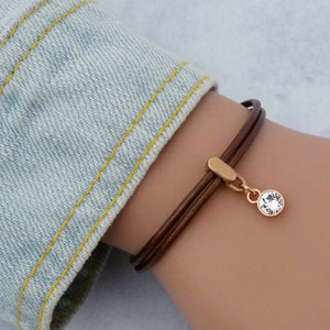 Leather bracelet with Swarovski crystal, rose gold and bronze