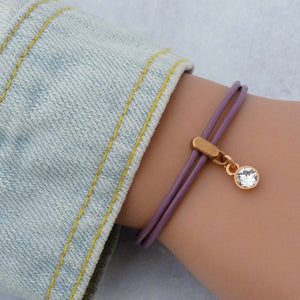 Leather bracelet with Swarovski crystal, rose gold and lilac