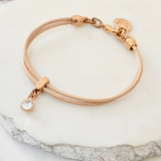 Leather bracelet with Swarovski crystal, rose gold and nude - Orli Jewellery